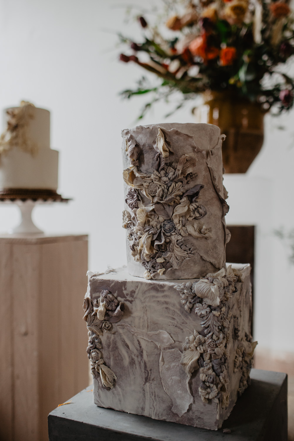 Cake Cakes Pottery Fabric Earthy Grey Elopement Wedding Ideas Oilvejoy Photography