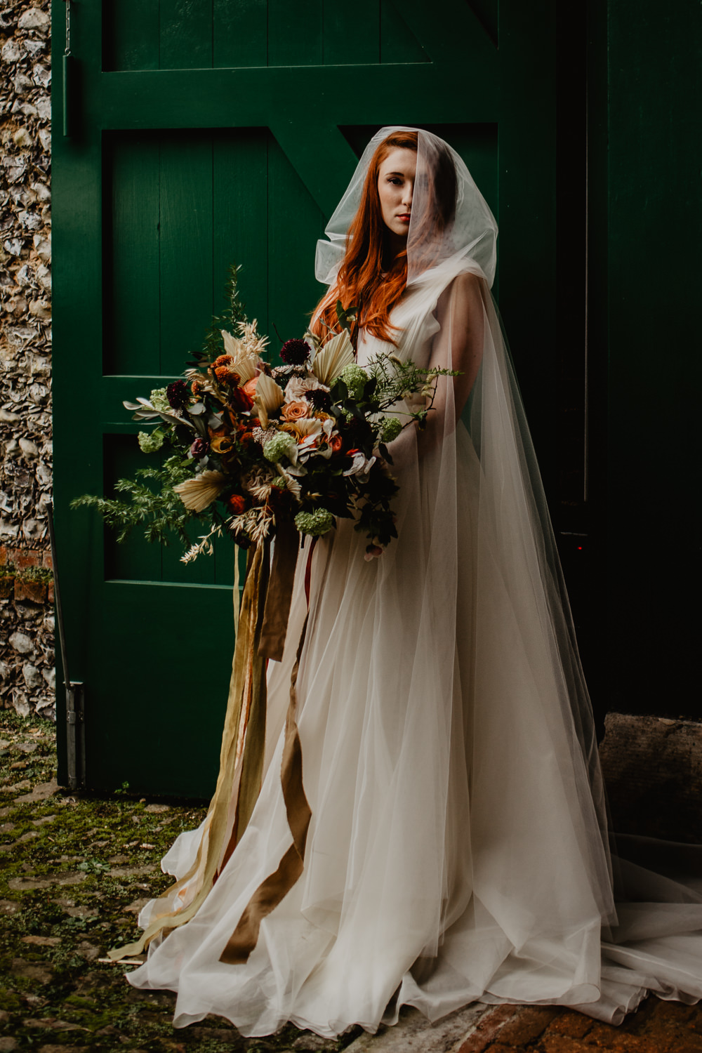 Dress Gown Bride Bridal Organza Ballet Cape Veil Hood Bouquet Flowers Bride Bridal Ribbons Orange Rose Dried Flowers Seed Heads Large Oversized Autumn Fall Elopement Wedding Ideas Oilvejoy Photography