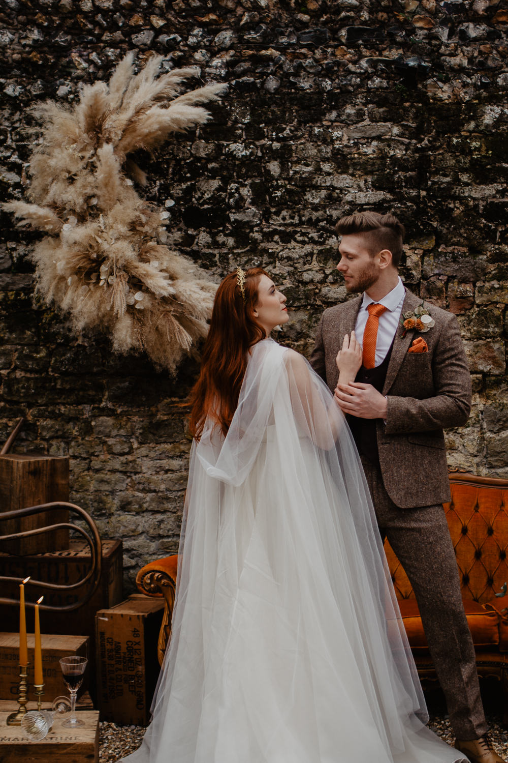 Elopement Wedding Ideas Oilvejoy Photography Crescent Moon Pampas Grass Installation Backdrop Flowers Floral Orange Sofa Vintage