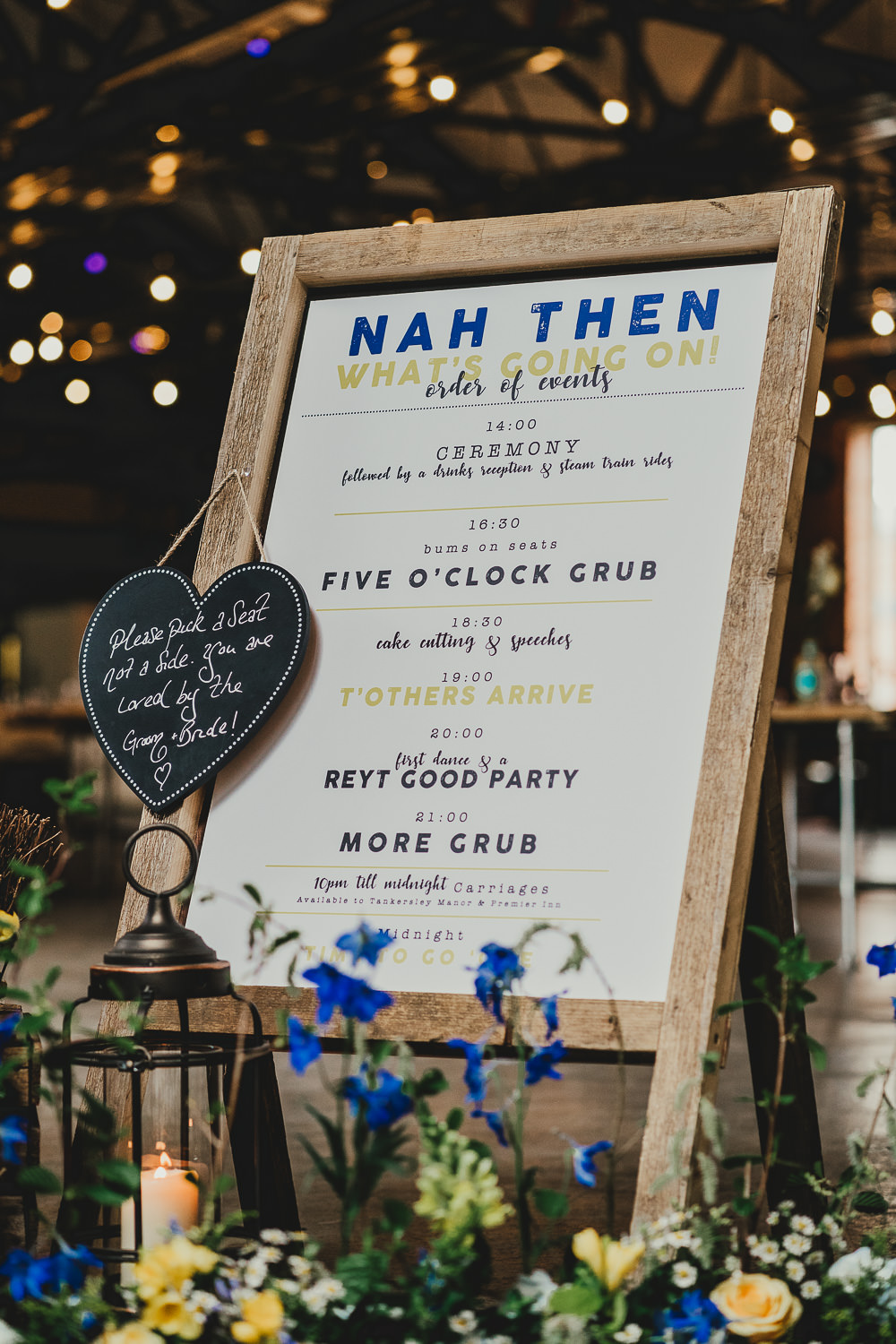 Order of the Day Sign Signs Signage Elsecar Heritage Centre Wedding Ayesha Photography