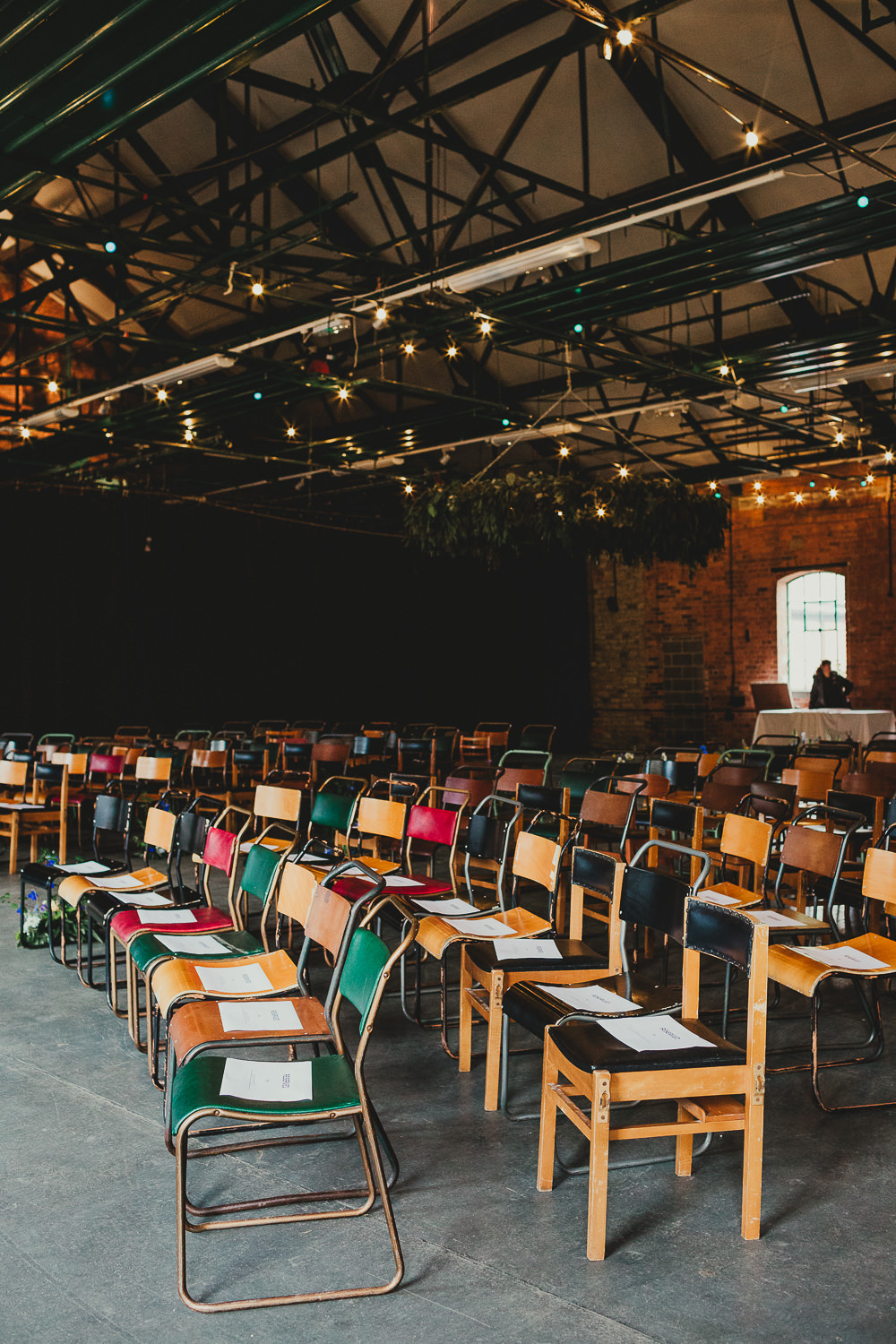Warehouse Venue Mismatched Industrial School Chairs Elsecar Heritage Centre Wedding Ayesha Photography