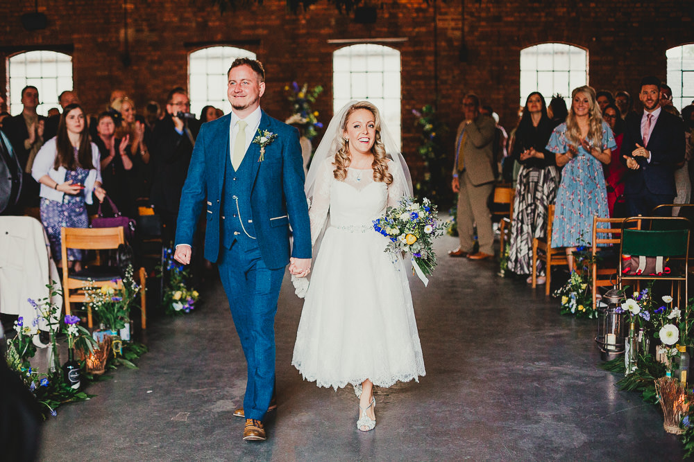Bride Bridal Dress Gown Louise Bentley Tea Length Lace Short Groom Suit Navy Yellow Tie Elsecar Heritage Centre Wedding Ayesha Photography
