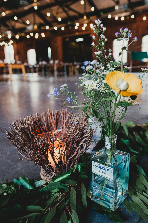 Gin Bottle Flowers Decor Elsecar Heritage Centre Wedding Ayesha Photography