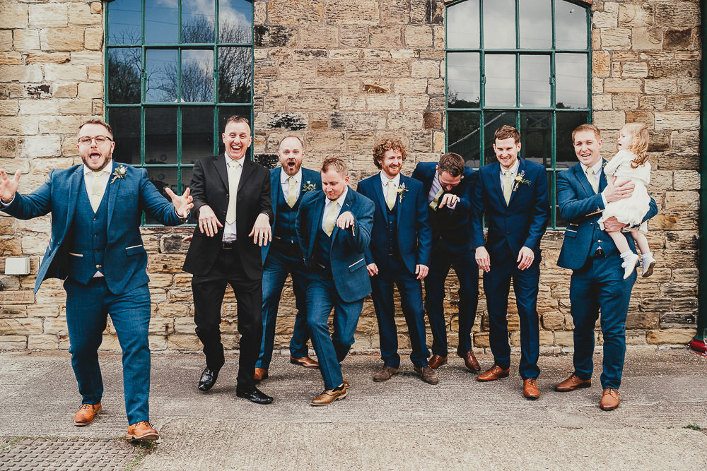 Groom Suit Tweed Navy Yellow Tie Groomsmen Elsecar Heritage Centre Wedding Ayesha Photography