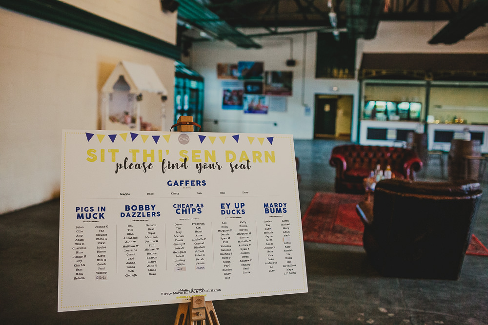 Seating Plan Table Chart Bunting Elsecar Heritage Centre Wedding Ayesha Photography