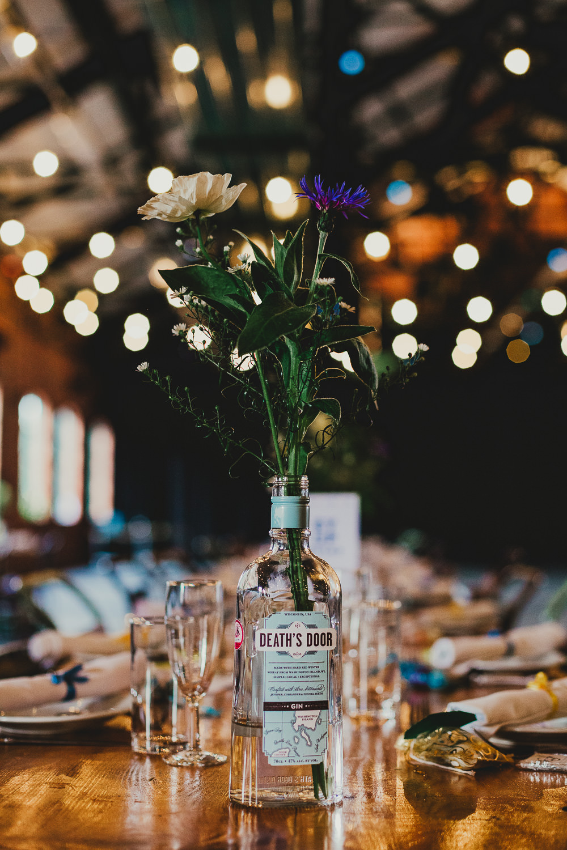 Gin Bottle Flowers Decor Centrepiece Elsecar Heritage Centre Wedding Ayesha Photography