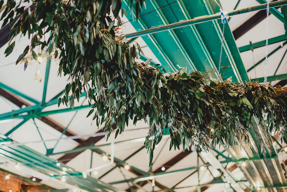 Hanging Hoop Decor Foliage Greenery Elsecar Heritage Centre Wedding Ayesha Photography