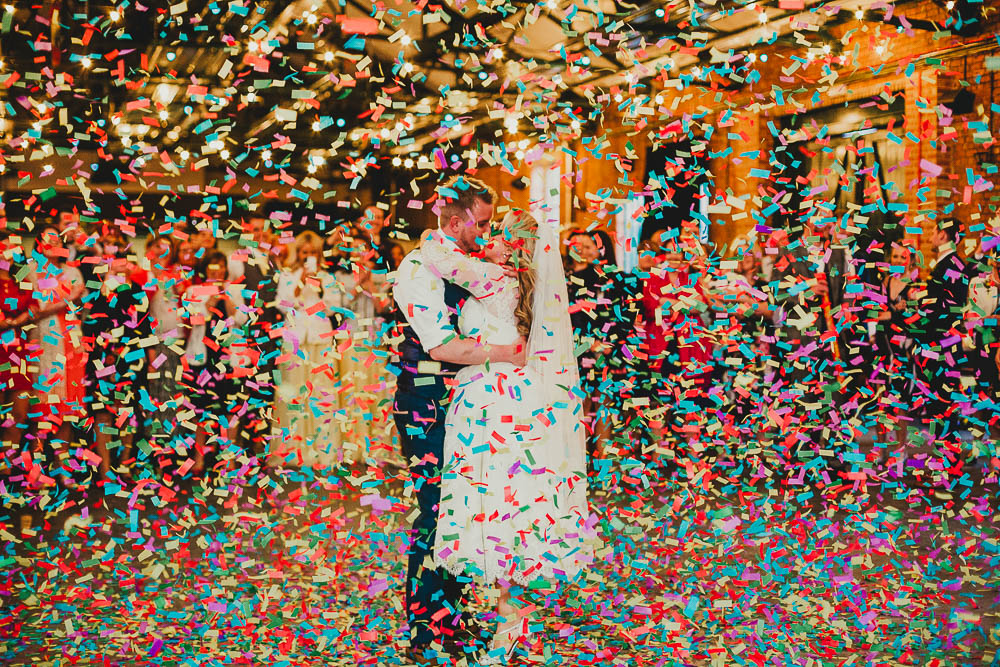 Confetti Cannon Dancefloor First Dance Elsecar Heritage Centre Wedding Ayesha Photography