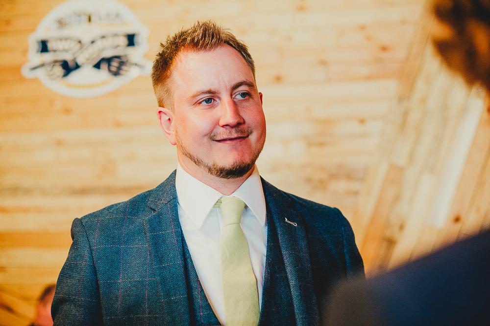 Groom Suit Tweed Navy Yellow Tie Elsecar Heritage Centre Wedding Ayesha Photography