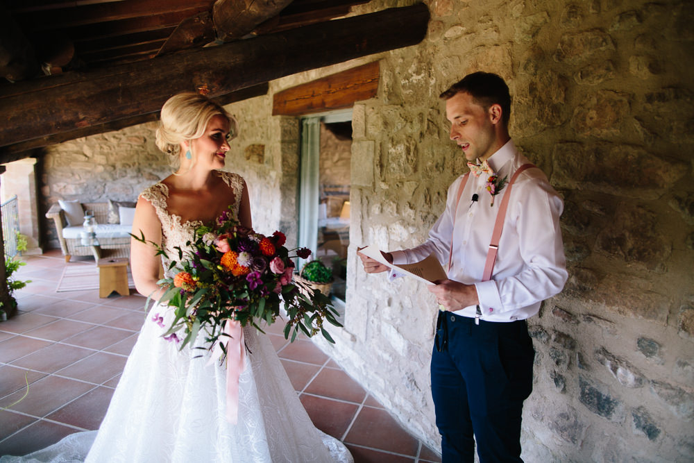 Bride Bridal Lace Strappy Sleeveless Embellished Dress Gown Mismatched Bow Tie Multicoloured Bouquet Forest Spain Destination Wedding Dan Hough Photography