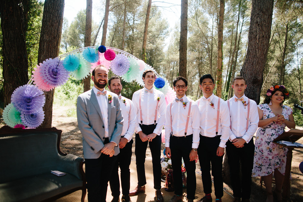 Groom Groomsmen Braces Bow Tie Mismatched Pink Paper Lantern Pin Wheel Arch Forest Spain Destination Wedding Dan Hough Photography