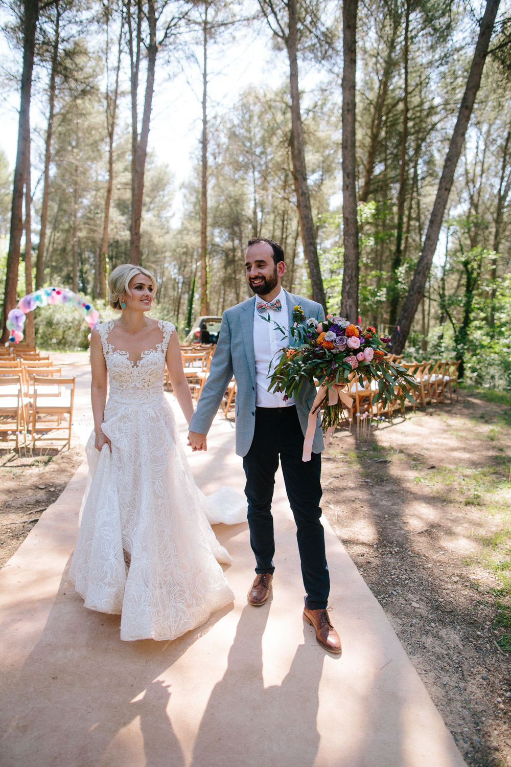 Bride Bridal Lace Strappy Sleeveless Embellished Dress Gown Mismatched Bow Tie Groom Forest Spain Destination Wedding Dan Hough Photography