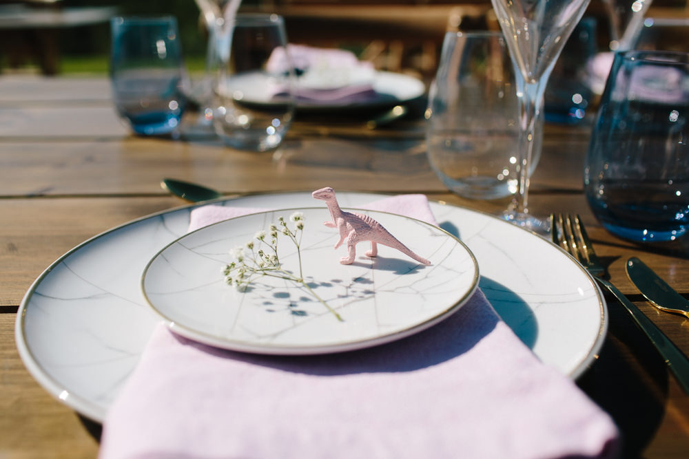 Place Setting Marble Effect Plates Gypsophila Pink Dinosaur Forest Spain Destination Wedding Dan Hough Photography