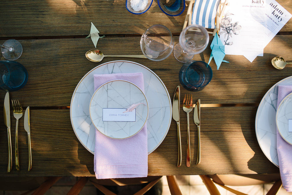 Table Place Setting Gold Cutlery Marble Effect Crockery Pink Dinosaur Napkin Forest Spain Destination Wedding Dan Hough Photography