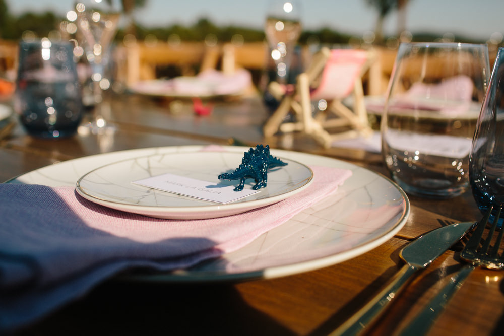 Place Setting Dinosaur Card Name Forest Spain Destination Wedding Dan Hough Photography