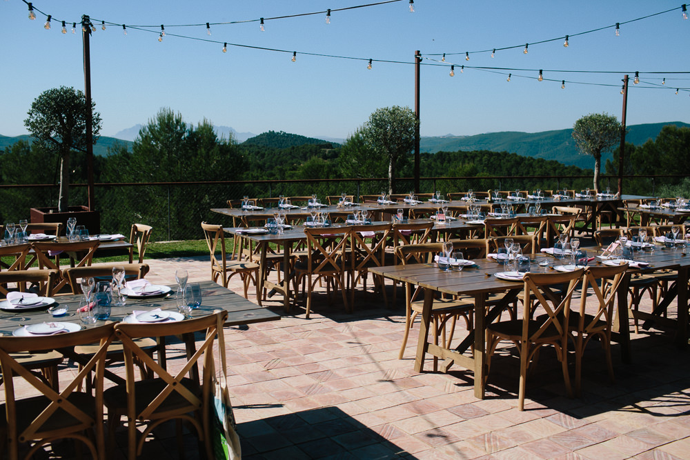 Outdoor Dining Wedding Breakfast Festoon Lighting Forest Spain Destination Wedding Dan Hough Photography