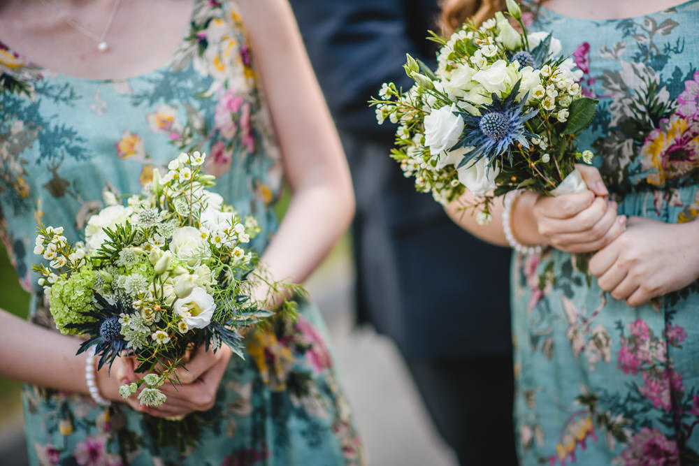 Bridesmaids Floral Dress Bouquet Sea Holly White Flower Hargate Hall Wedding Pixies in the Cellar