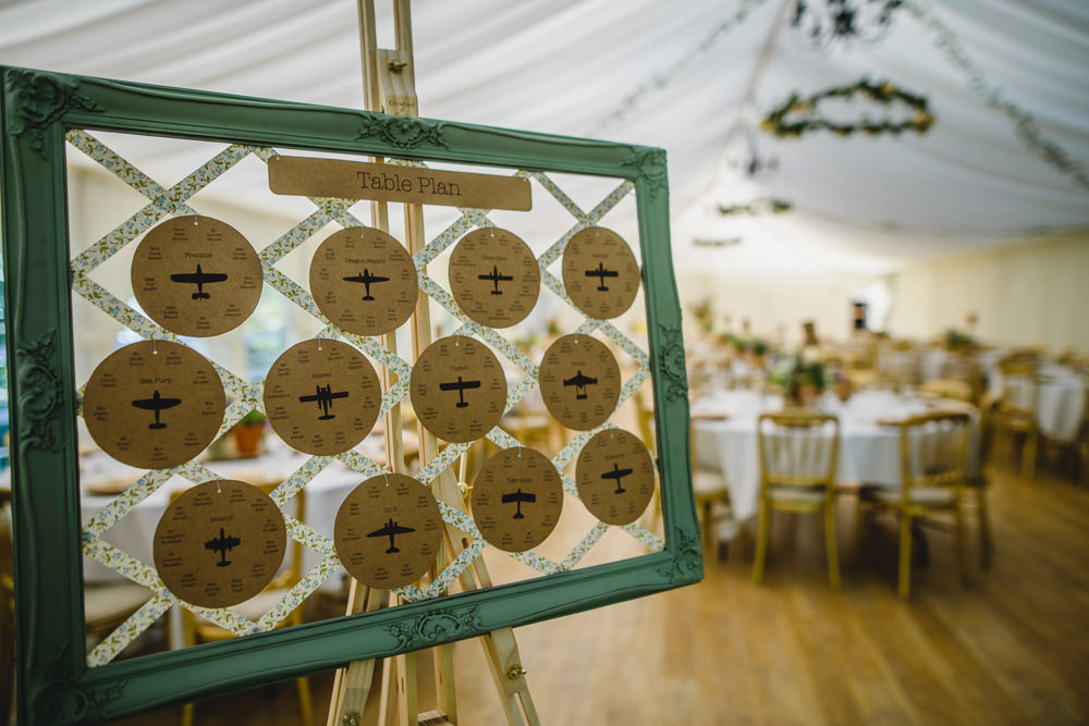 Table Plan Seating Chart Easel Aeroplane Ribbon Hargate Hall Wedding Pixies in the Cellar
