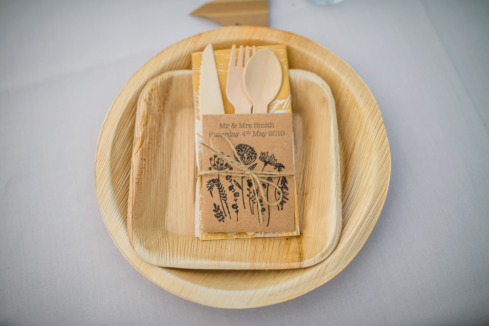 Wooden Cutlery Bamboo Vegware Plates Wildflower Seeds Hargate Hall Wedding Pixies in the Cellar
