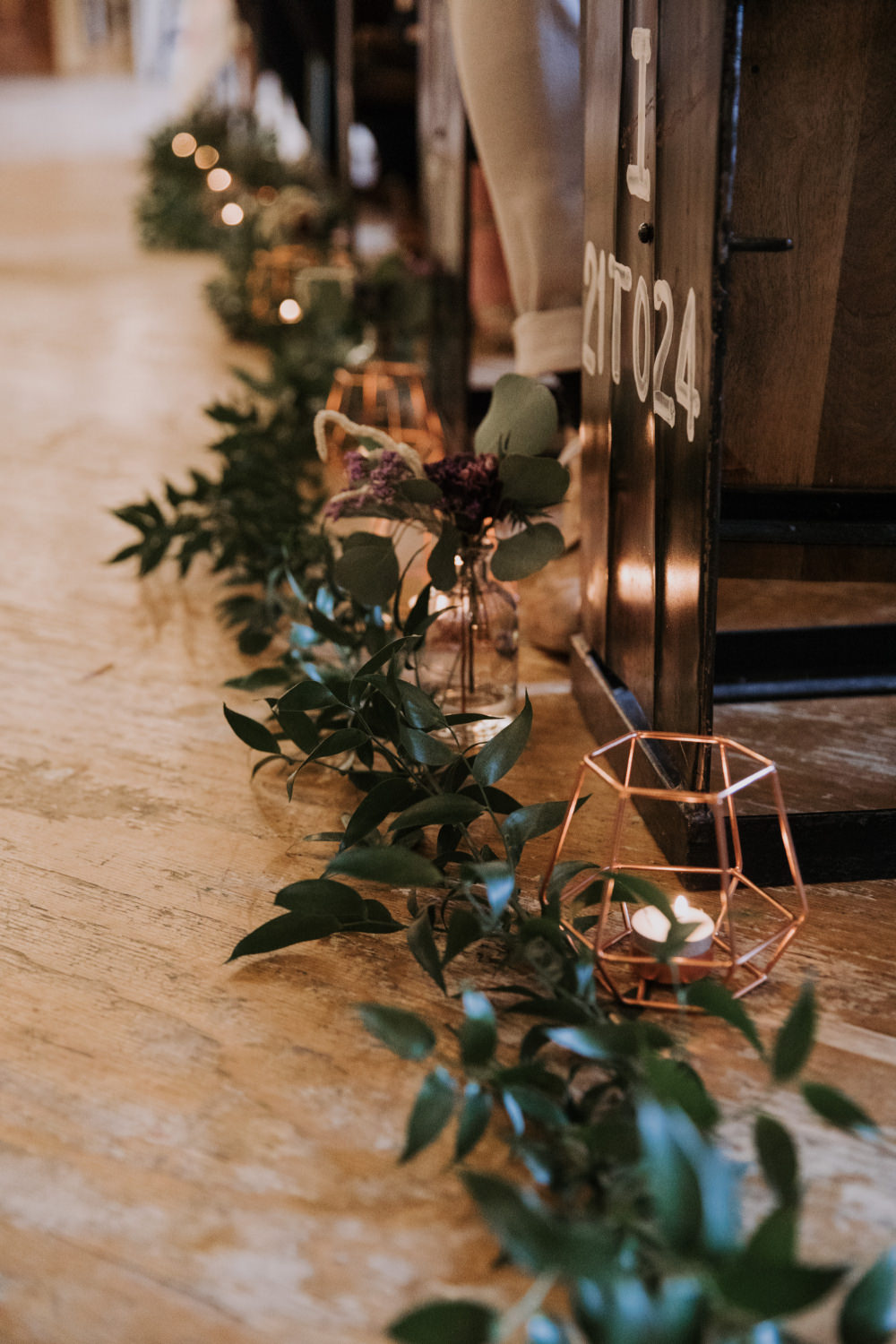 Ceremony Aisle Pew End Greenery Foliage Candles Holmes Mill Wedding Siobhan Amy Photography