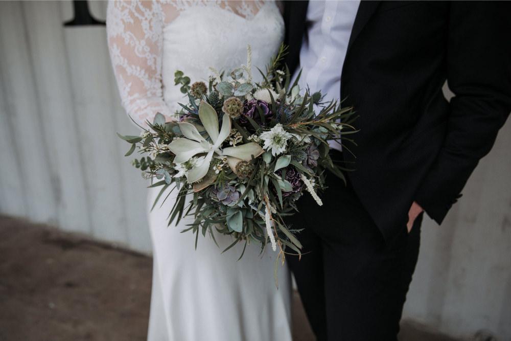 Bouquet Flowers Bride Bridal Thistle Greenery Foliage Eucalyptus Nigella Succlent Holmes Mill Wedding Siobhan Amy Photography
