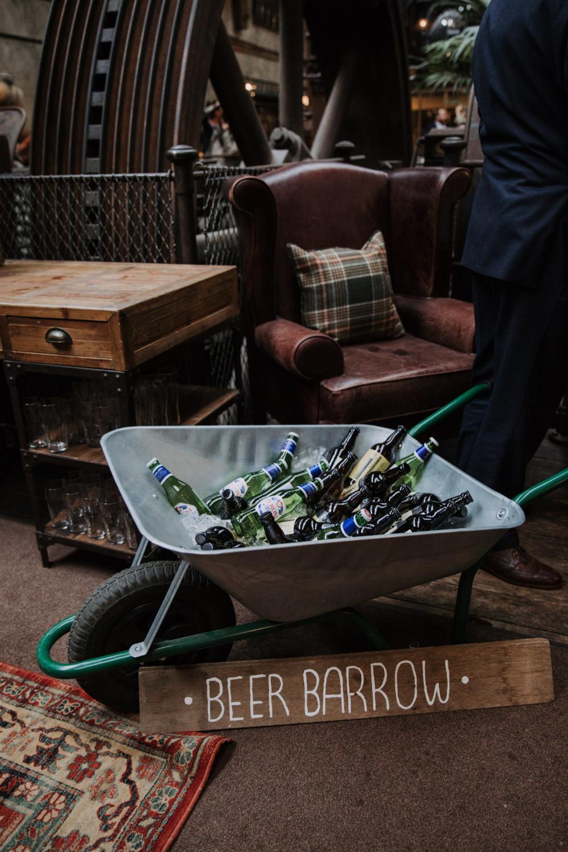 Wheelbarrow Barrow Drinks Bar Station Beer Holmes Mill Wedding Siobhan Amy Photography