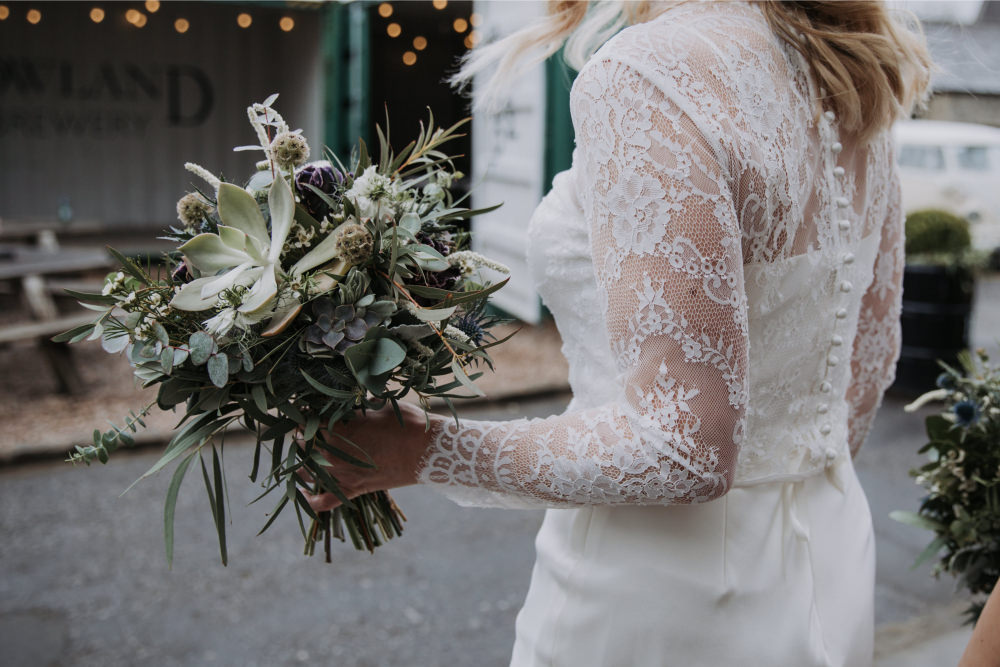 Bouquet Flowers Bride Bridal Thistle Greenery Foliage Eucalyptus Nigella Holmes Mill Wedding Siobhan Amy Photography