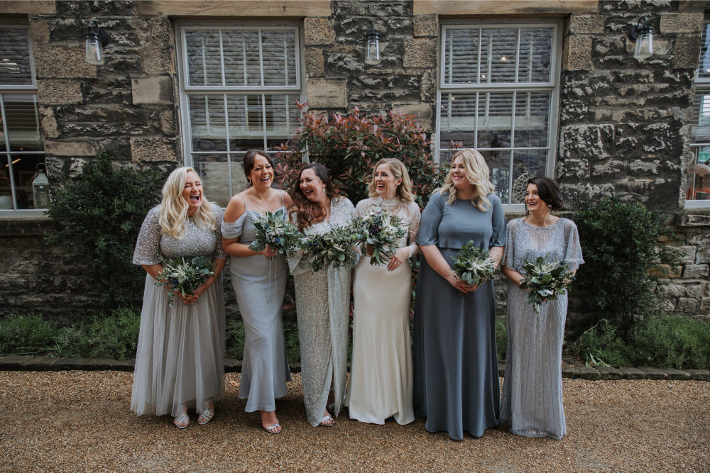 Bridesmaids Bridesmaid Dress Dresses Blue Grey Silver Mismatched Holmes Mill Wedding Siobhan Amy Photography