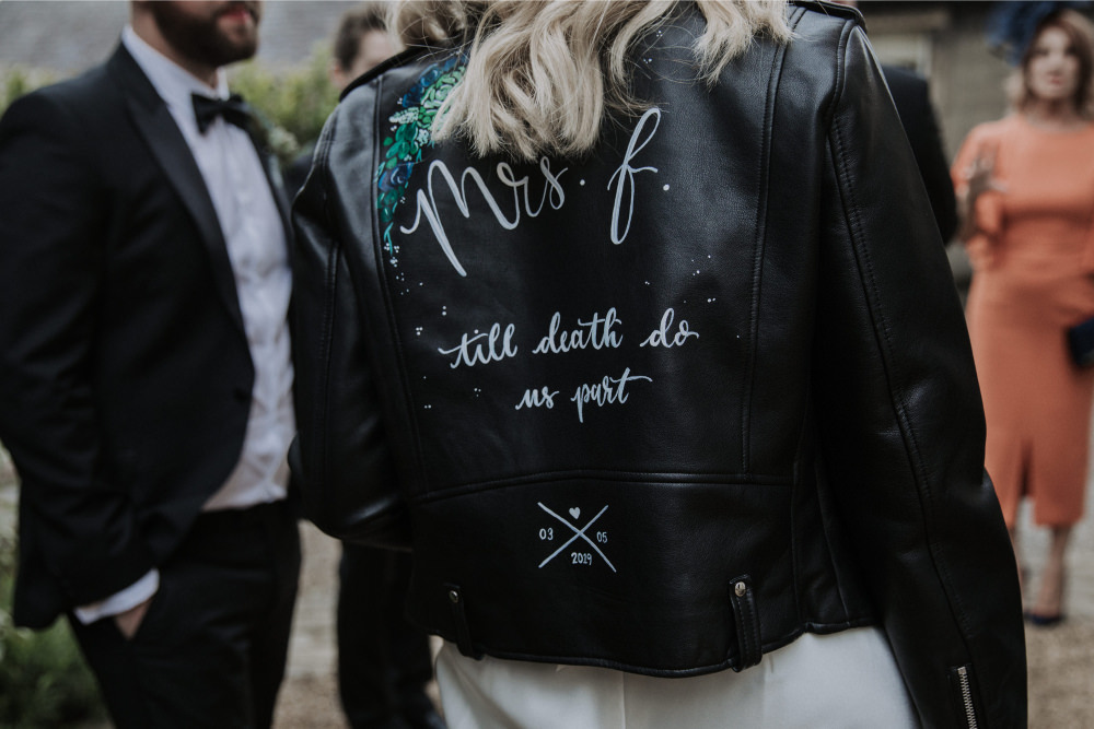 Painted Personalised Leather Jacket Bride Bridal Holmes Mill Wedding Siobhan Amy Photography