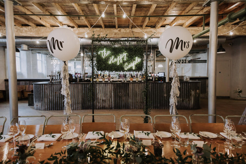 Top Table Balloons Backdrop Neon Sign Holmes Mill Wedding Siobhan Amy Photography