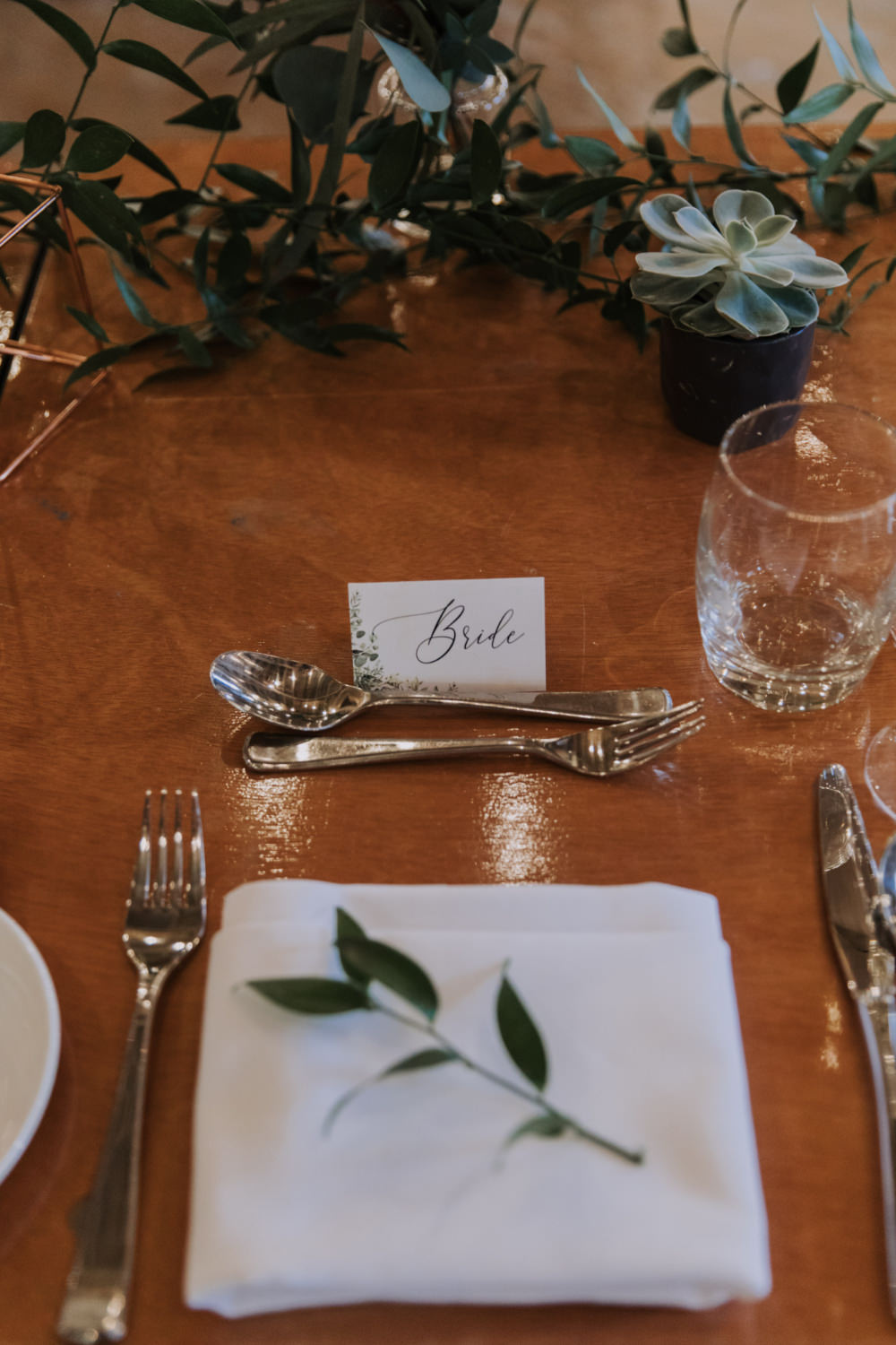 Place Setting Decor Greenery Foliage Succulents Calligraphy Name Tag Card Holmes Mill Wedding Siobhan Amy Photography