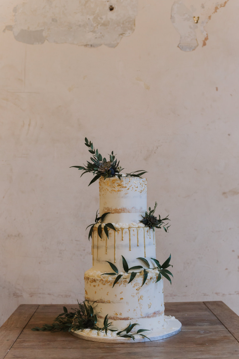 Semi Naked Cake Drip Greenery Foliage Succulent Holmes Mill Wedding Siobhan Amy Photography