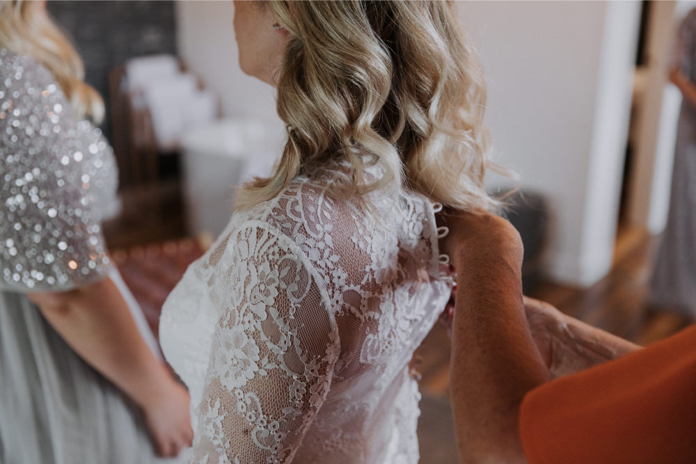 Dress Gown Bride Bridal Lace Sleeves Flowing Train Catherine Deane Holmes Mill Wedding Siobhan Amy Photography