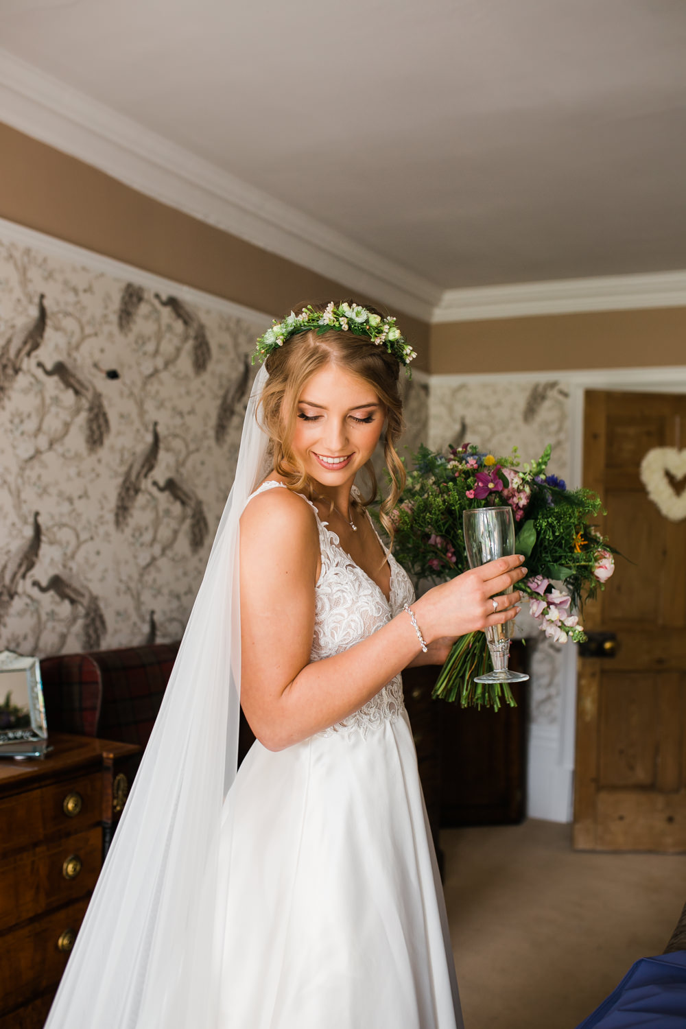 Bride Bridal V Neck A Line Dress Gown Lace Edged Veil Flower Crown Multicoloured Bouquet Lincolnshire Tipi Wedding Jessy Jones Photography