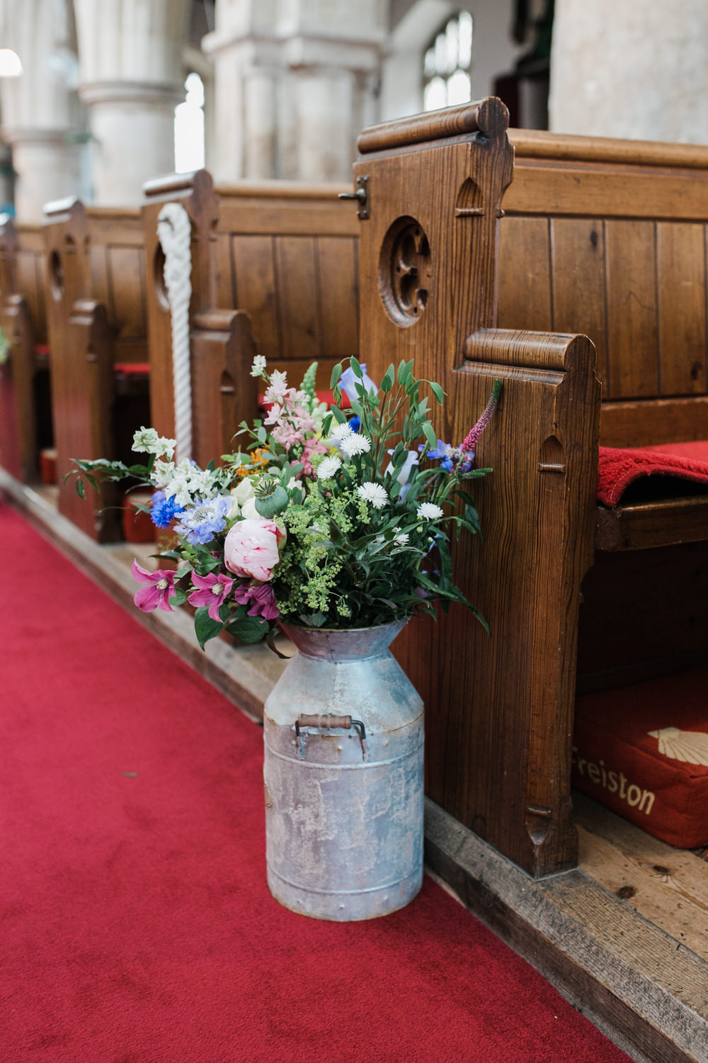 Pew End Aisle Flowers Milk Churn Multicoloured Wildflowers Lincolnshire Tipi Wedding Jessy Jones Photography