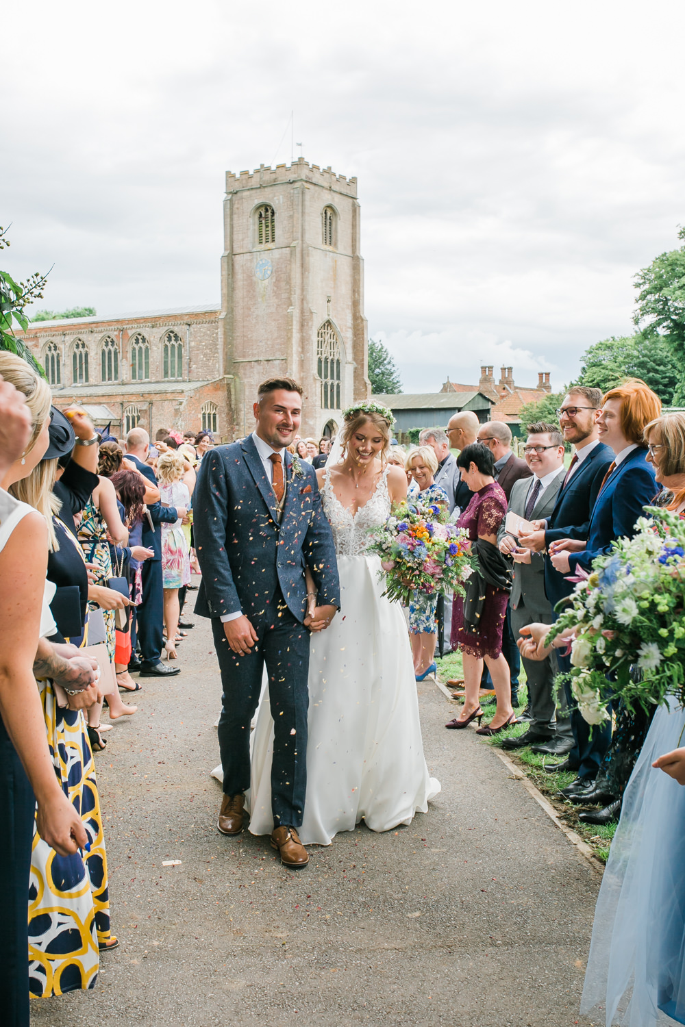 Bride Bridal V Neck A Line Dress Gown Lace Edged Veil Flower Crown Multicoloured Bouquet Tweed Suit Groom Confetti Lincolnshire Tipi Wedding Jessy Jones Photography