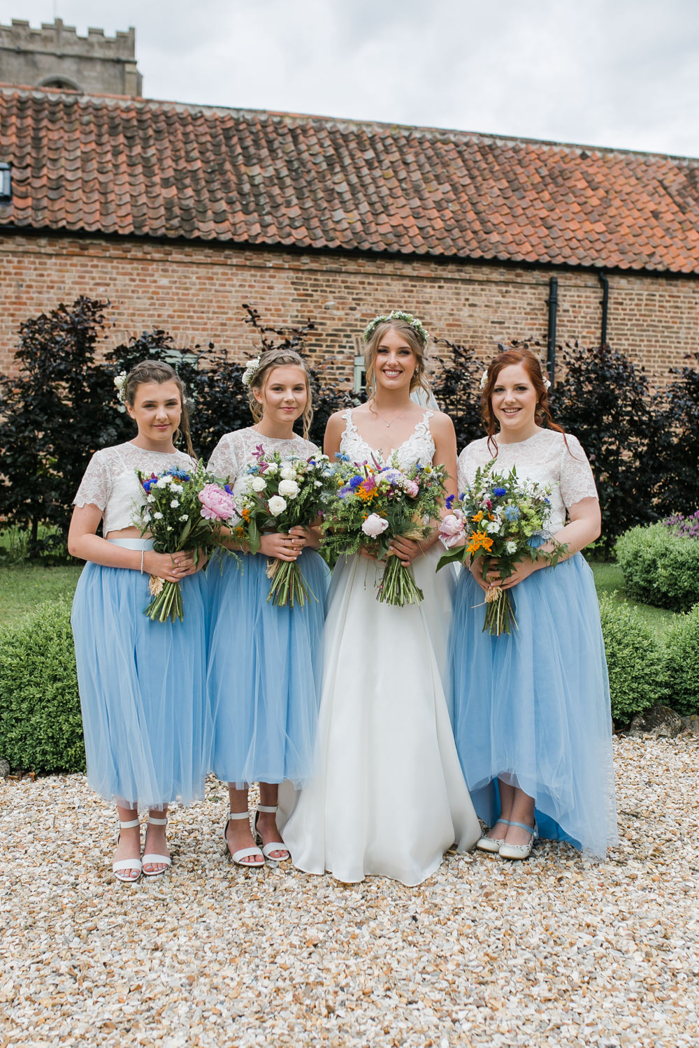 Bride Bridal V Neck A Line Dress Gown Lace Edged Veil Flower Crown Multicoloured Bouquet Blue Tull Skirt Bridesmaids Lincolnshire Tipi Wedding Jessy Jones Photography