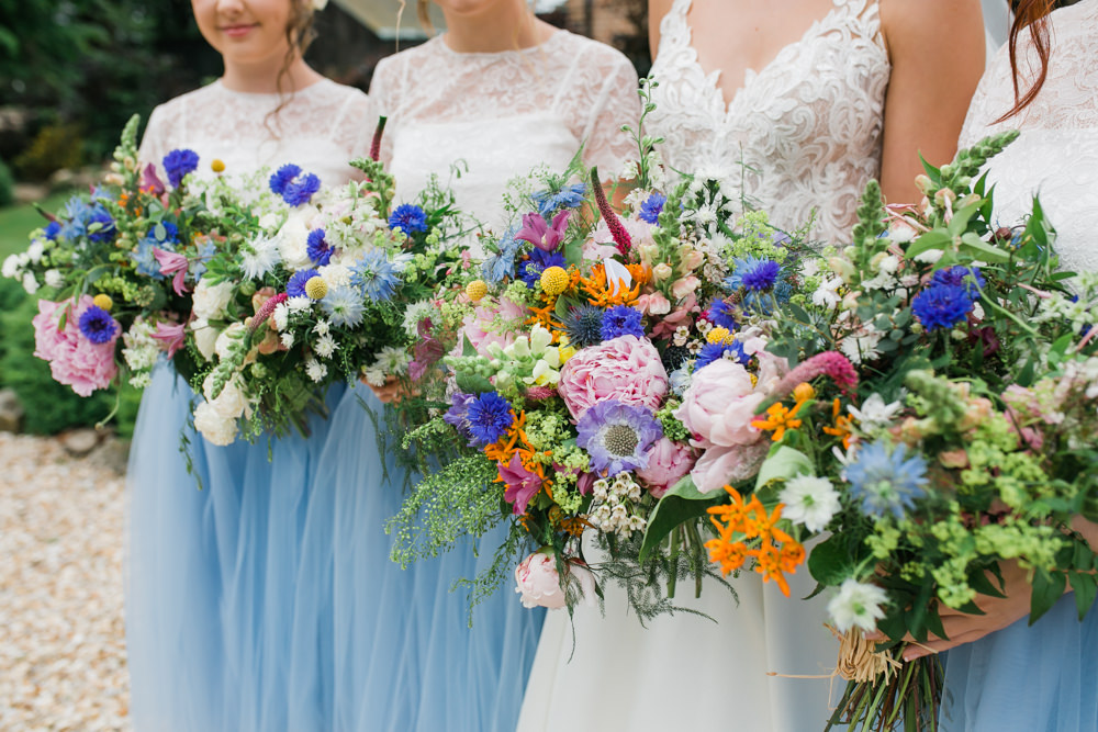 Bride Bridal Bridesmaids Wildflower Multicoloured Bouquets Lincolnshire Tipi Wedding Jessy Jones Photography