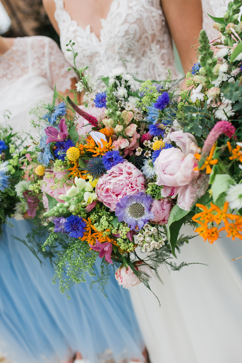 Bride Bridal Bridesmaids Multicoloured Wildflower Bouquets Lincolnshire Tipi Wedding Jessy Jones Photography