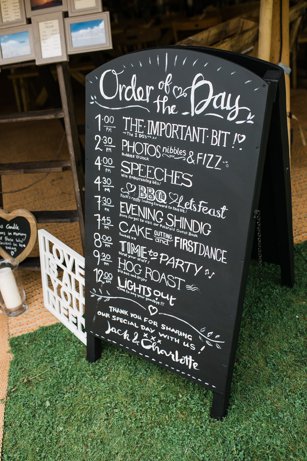 Order of the Day Chalk Board Sign Lincolnshire Tipi Wedding Jessy Jones Photography