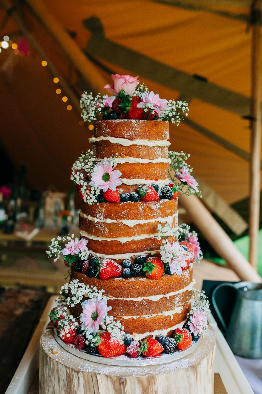 Victoria Sponge Cake Flowers Fruit Wood Slice Lincolnshire Tipi Wedding Jessy Jones Photography