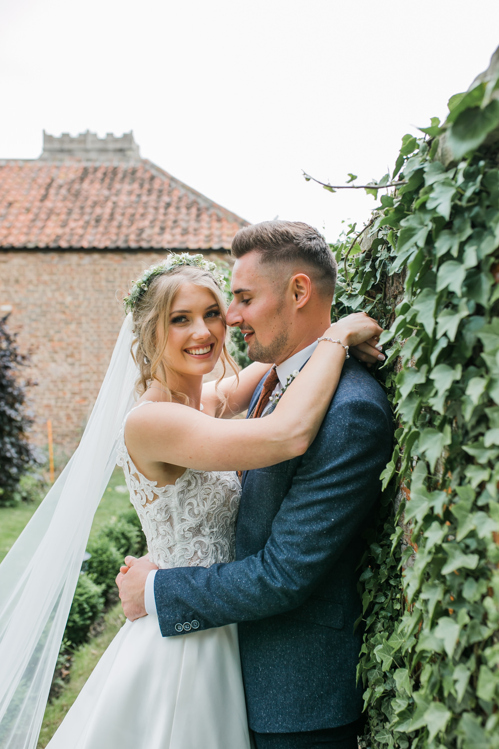 Bride Bridal V Neck A Line Dress Gown Lace Edged Veil Flower Crown Tweed Suit Groom Lincolnshire Tipi Wedding Jessy Jones Photography