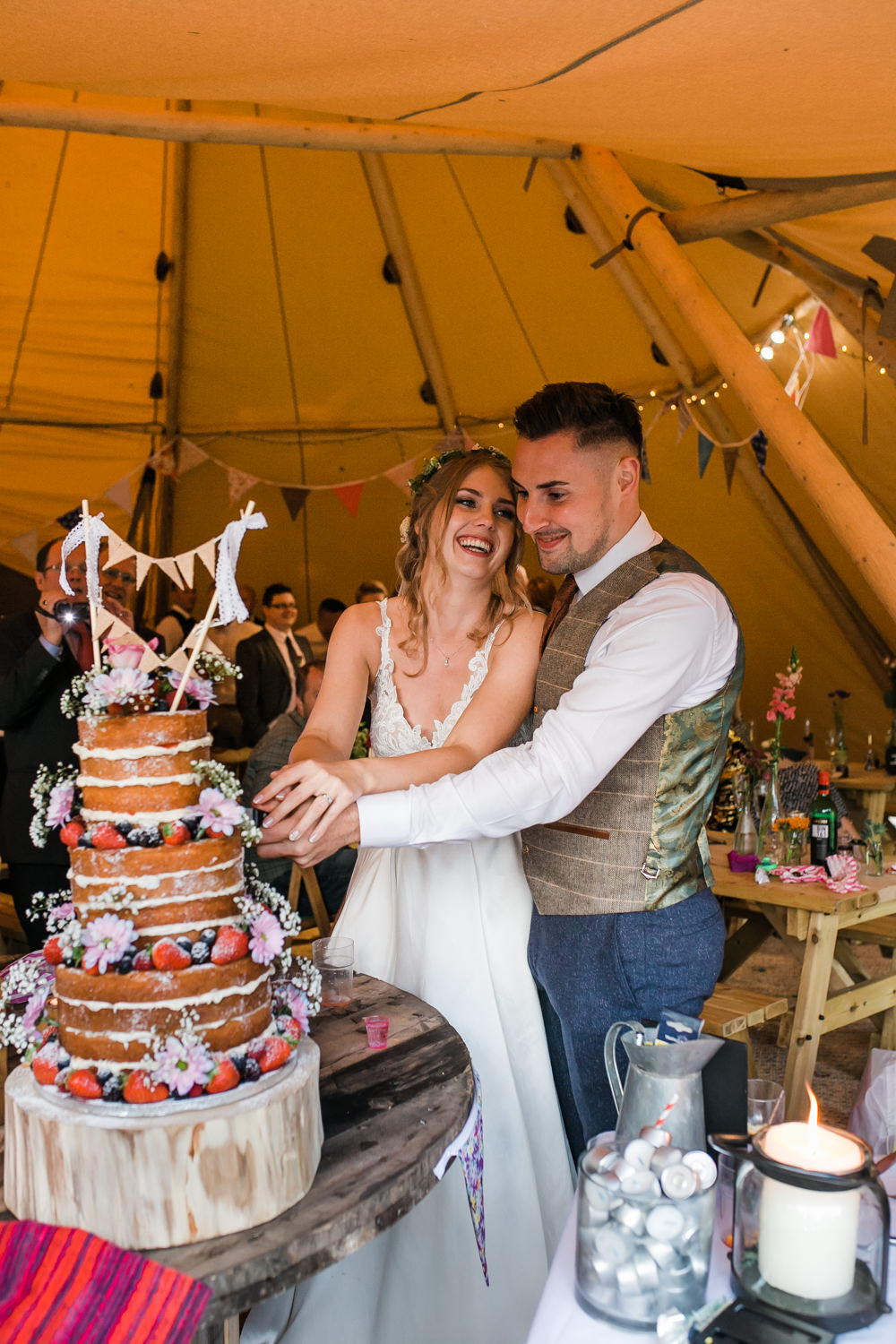 Bride Bridal V Neck A Line Dress Gown Lace Edged Veil Flower Crown Victoria Sponge Cake Bunting Waistcoat Tweed Suit Groom Lincolnshire Tipi Wedding Jessy Jones Photography
