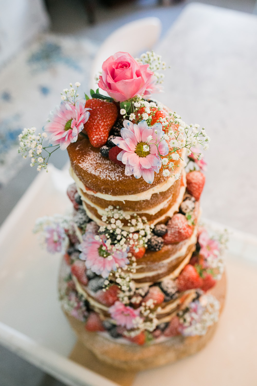 Victoria Sponge Cake Multicoloured Flowers Gypsophila Rose Fruit Lincolnshire Tipi Wedding Jessy Jones Photography