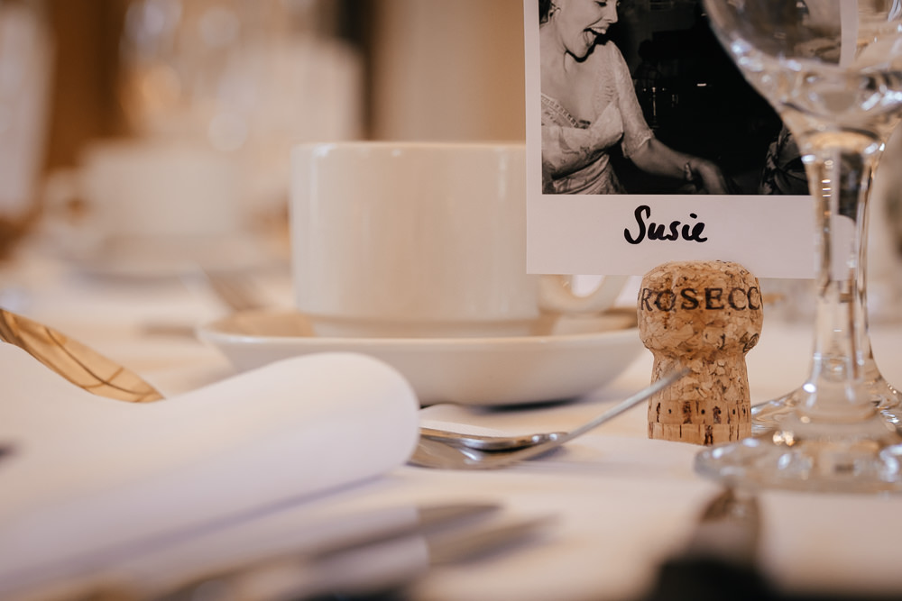 Polaroid Champagne Cork Name Place Card Mickleton Hills Farm Wedding Jules Barron Photography