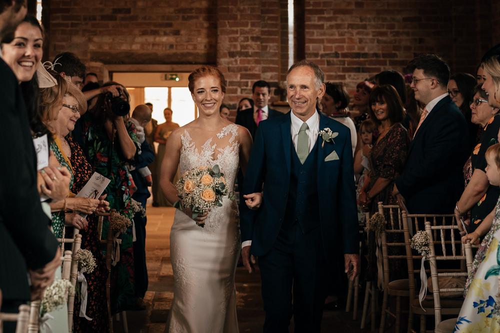 Illusion Lace Bride Bridal Dress Gown Peach Rose Gypsophila Bouquet Mickleton Hills Farm Wedding Jules Barron Photography