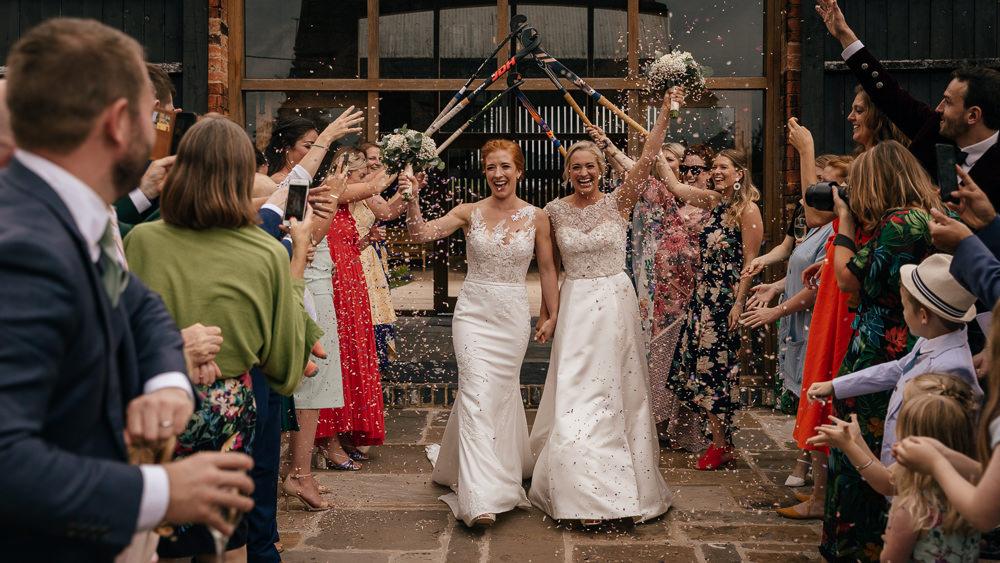 Bride Bridal Lace Embellished Dress Gown Cap Sleeve Halter Neck Confetti Hockey Sticks Guard of Honour Mickleton Hills Farm Wedding Jules Barron Photography