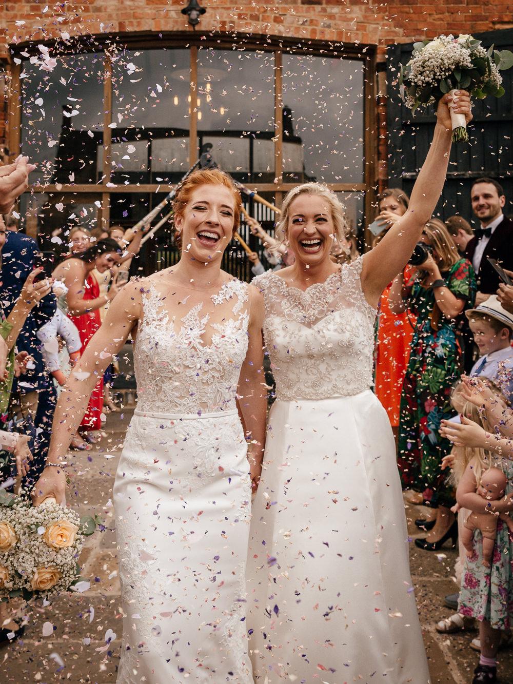 Bride Bridal Lace Embellished Dress Gown Cap Sleeve Halter Neck Confetti Mickleton Hills Farm Wedding Jules Barron Photography