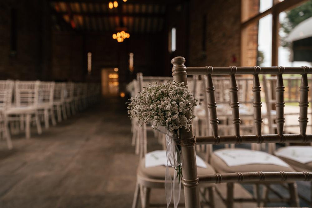 Gypsophila Aisle Pew End Mickleton Hills Farm Wedding Jules Barron Photography
