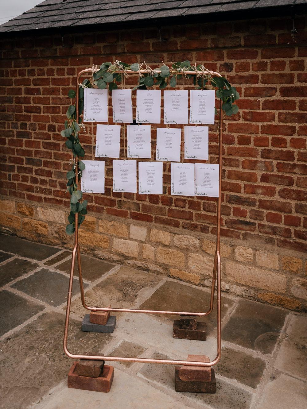 Table Plan Seating Chart Copper Rail Greenery Mickleton Hills Farm Wedding Jules Barron Photography